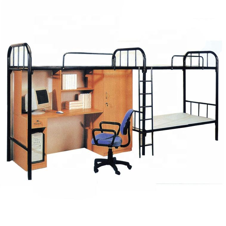 Undergraduate Metal Dorm/Apartment Bunk Bed with Wardrobe/Computer Desk,Iron Loft bed