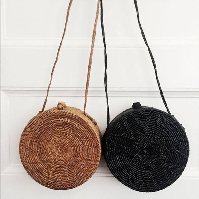 Woven round woman wicker bali beach crossbody single-shoulder basket hand rattan bag with strap