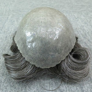 Grey Hair Men Toupee HumanHair Thin Skin Toupee Natural Looking Indian Remy Hair Clear Poly Back Human Mens Hair Systems Toupee