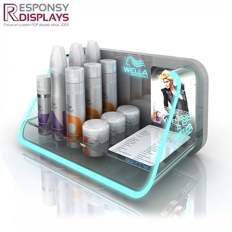 illuminated hair mask display hair care product acrylic display/shampoo bottle display holder