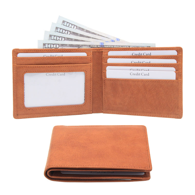 Genuine Leather RFID Blocking Wallets super slim Mens Wallet Bifold