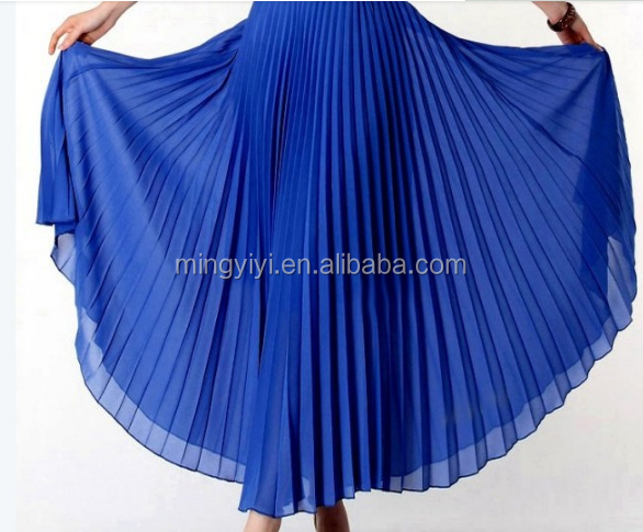 womens Summer Solid Color High Waist Spring Bohemian Pleated Maxi Skirts