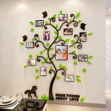 New arrival 3d Happy family tree photo frame crystal wall stickers Acrylic decoration name sticker