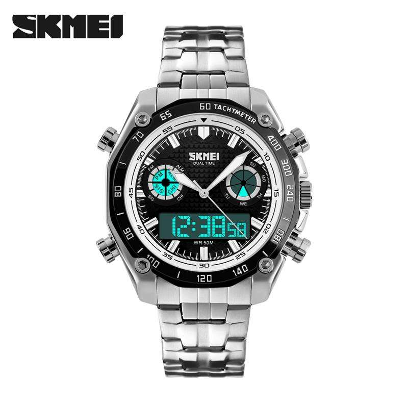 SKMEI 1204 Men Digital Quartz Watch 패션 스포츠 손목 Dual Time Zone 엘 빛 Clock Luxury Relogio Masculino Watches
