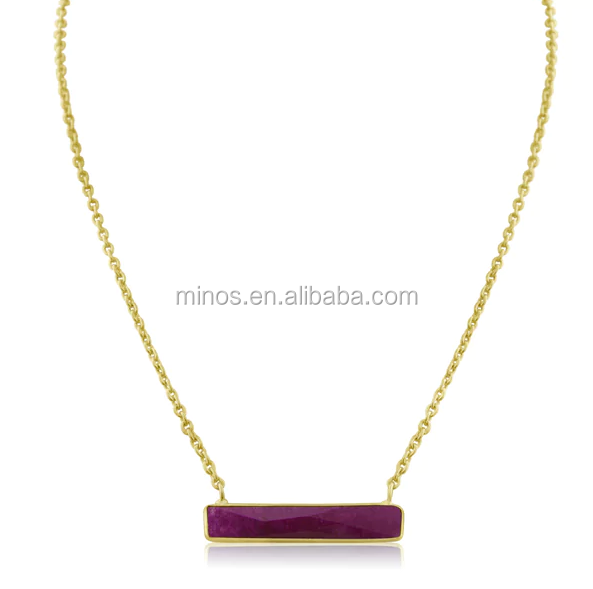 Rubis Or jaune Collier Unique Bar Pendentif Grande Superposition Collier