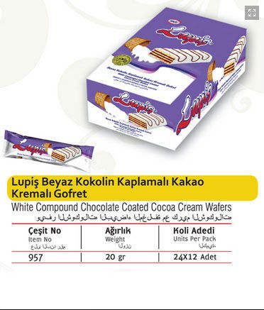 Lupis Witte Compound Chocolade Gecoat Coco Crème Wafers