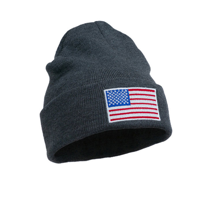 American Flag Patch Embroidered Knitted Beanie Hat Cuff Embroidery Custom fashion Skull Cap Beanie