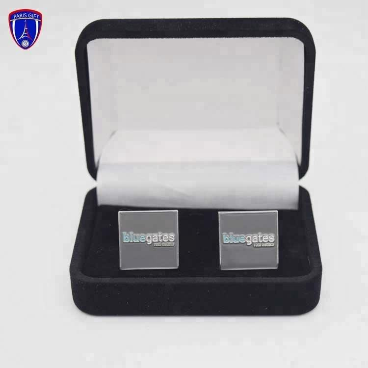 Personalized silver men metal custom cufflinks and tie clips with stainless steel