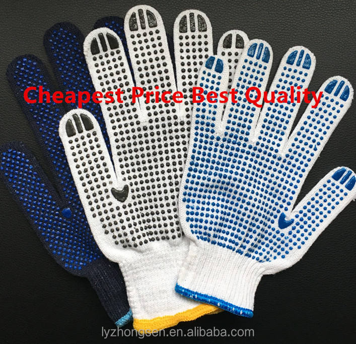 Pvc Dotted Natural White Cotton Glove Cotton String Knit Glove