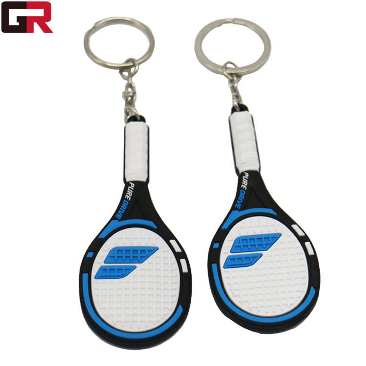 High Quality Factory Directly 3D Tennis Racket Personalized PVC Keychain