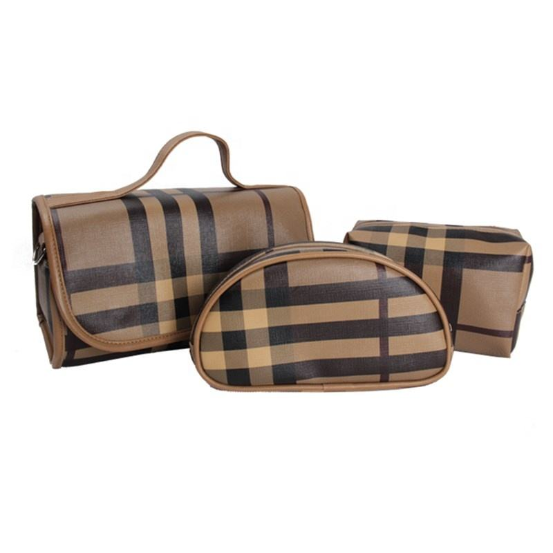 Economic Stripe PU Multifunction Group Collection Makeup Travel Bag Sets Hanging Cosmetic Bag 3pcs one Set