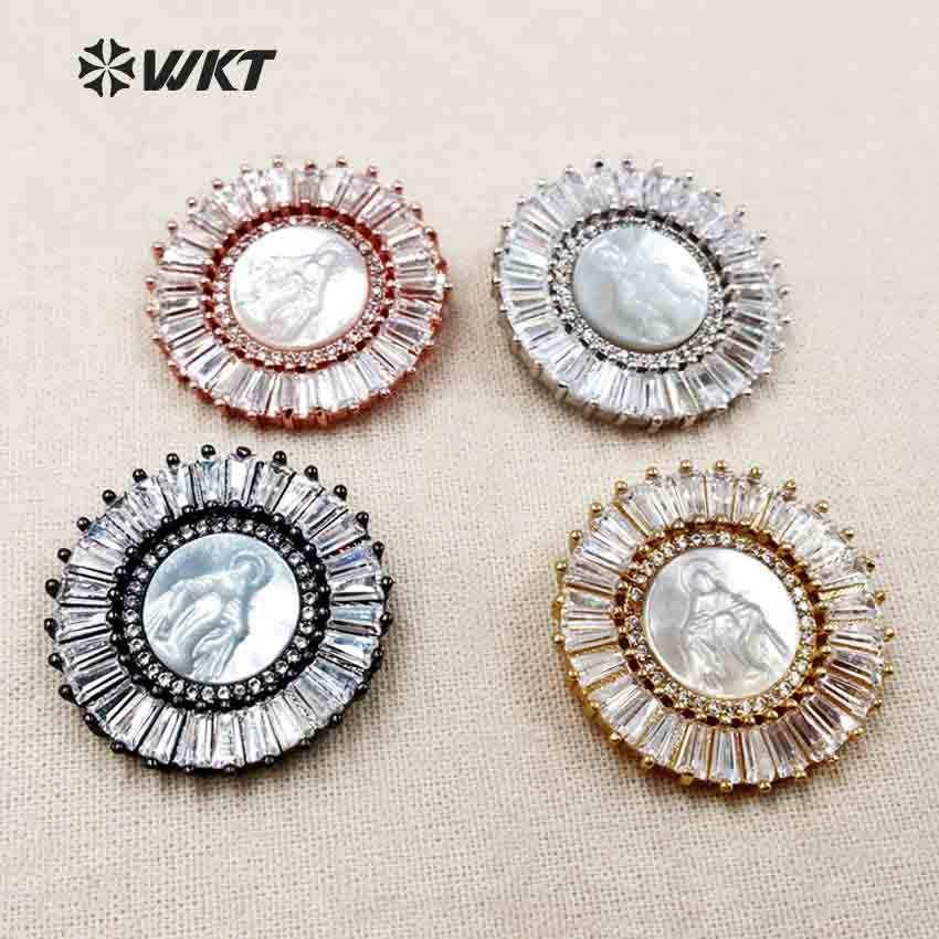 MP094 WKT Pretty Spark CZ Micro Pave Pendants With Round Shape Blessed Virgin Mary White Shell Necklaces Pendants Metal Plated