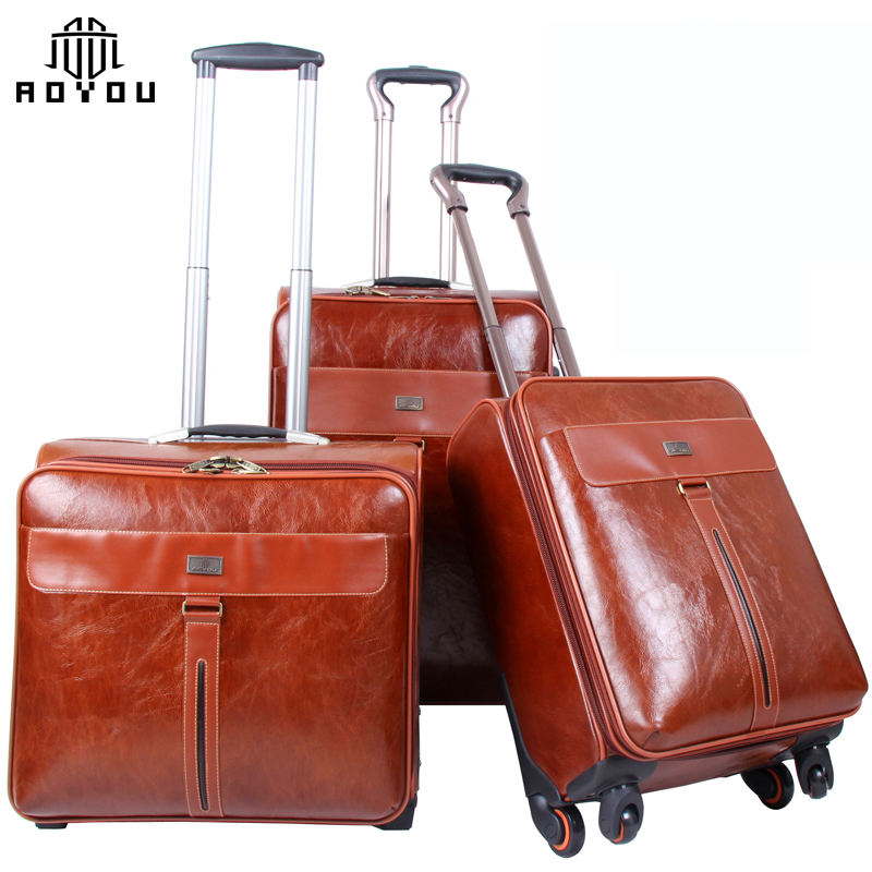 3pcs 16/20/24 inch High Quality PU Leather Suitcases Four Wheels Trolley Luggage Set