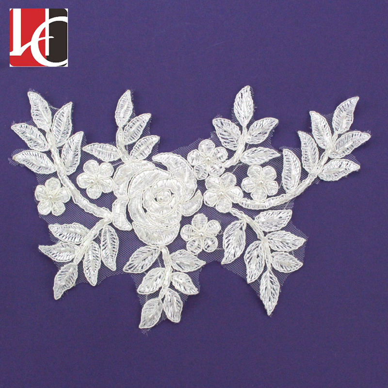 HC-3291 Hechun High Quality Flower Embroidery Bead Lace Applique for Sexy Dress