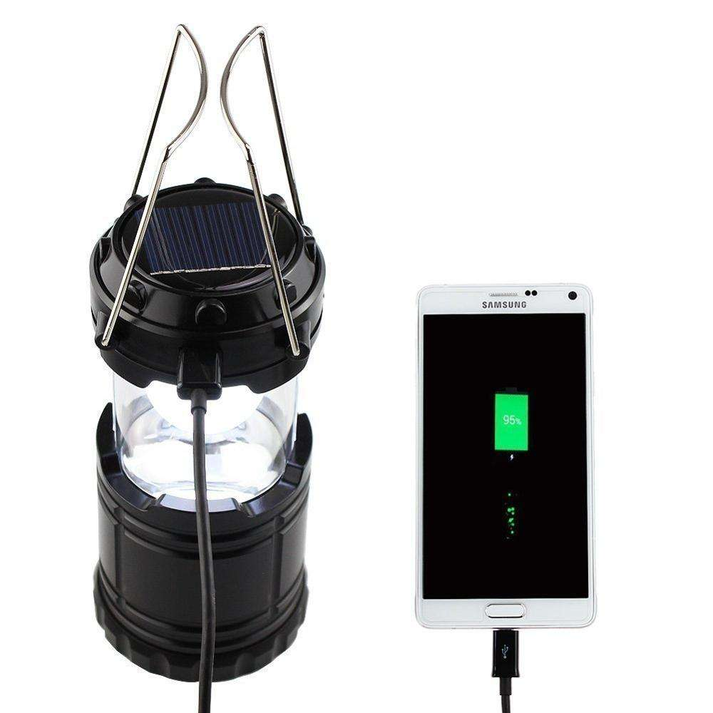 Outdoor Hanging Brightest Solar LED Flashlight Emergency Rechargeable Collapsible Camping Lantern with Phone Charger