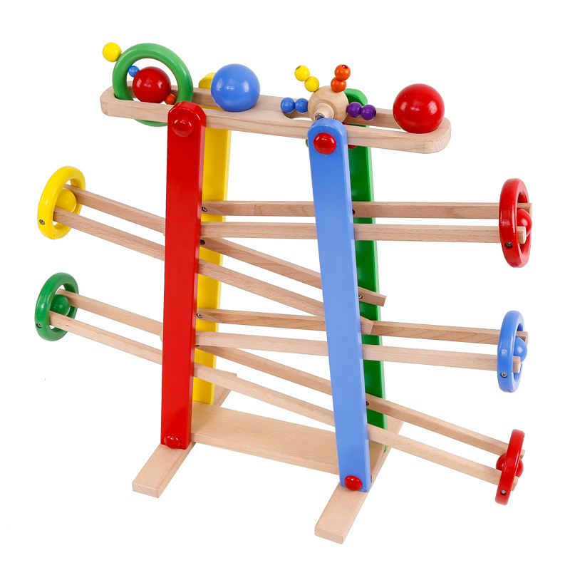 Onshine good quality rolling boll game for girl and boy popular cute wooden boll game marble runs educational for kids