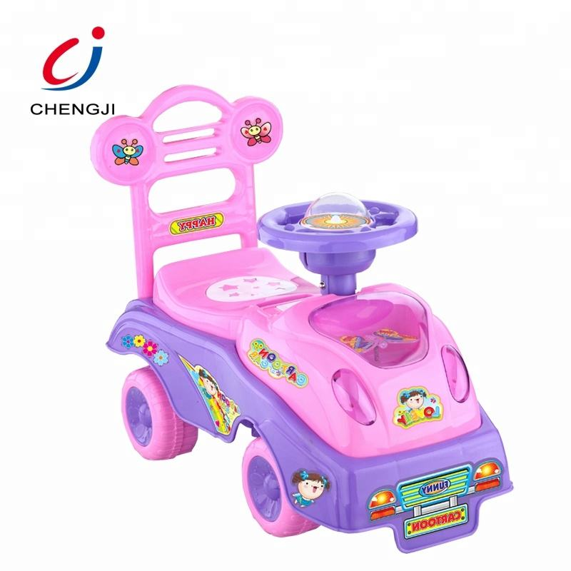 Hot sale plastic baby sliding cartoon pink children toy car ride on car