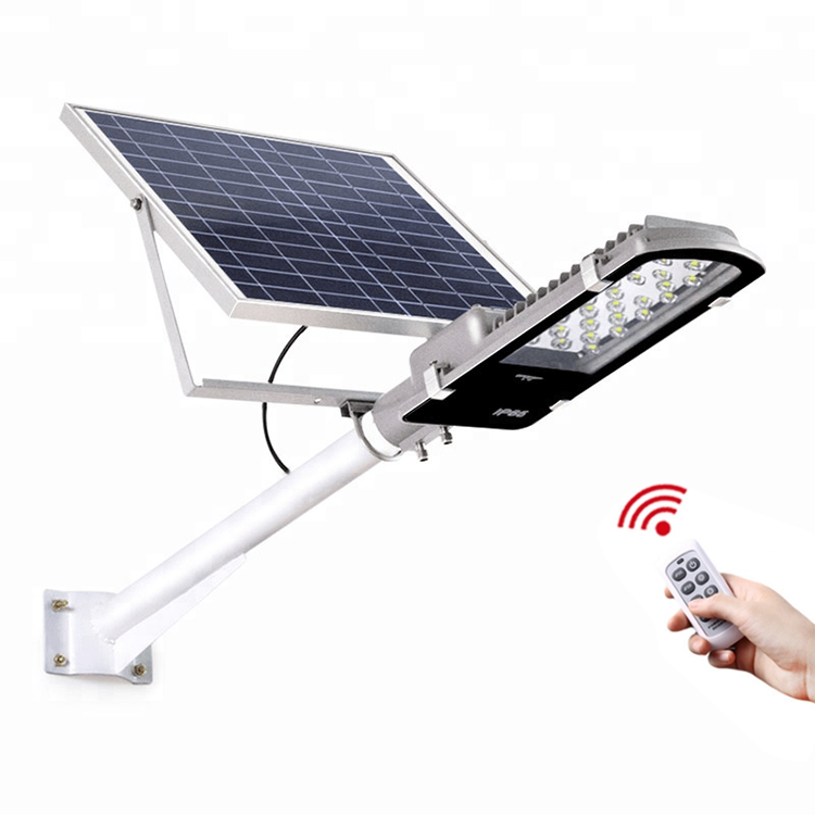 Low price china dimmable led street light 50w 100w 150w hps solar motion street light with solar panel and li-ion battery backup
