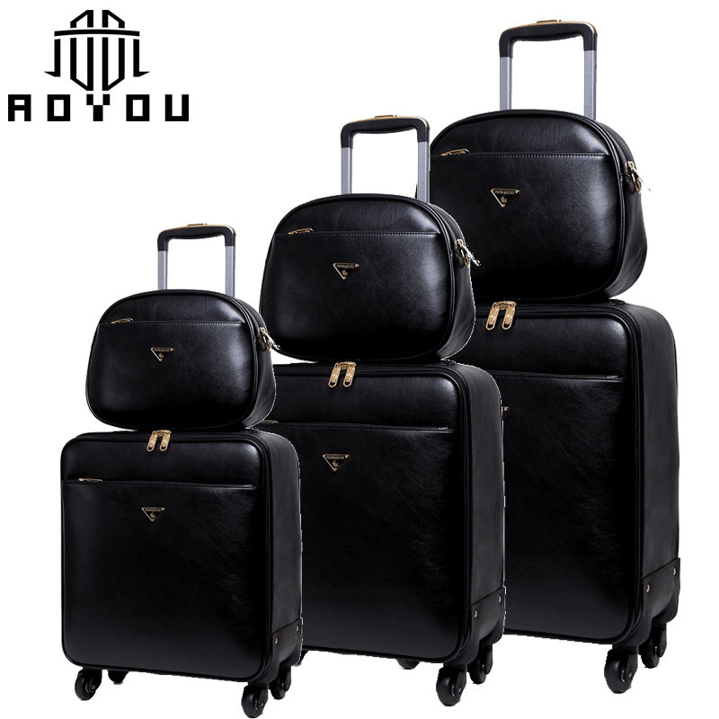 3pc 16 20 24 inch luggage sets with bag black suitcase sets