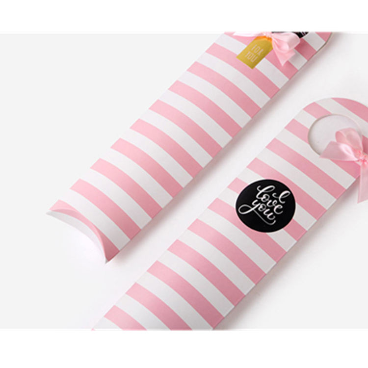 WLT4-7-24 Pink and white strips custom printing scarf box ribbon handle bow tie packaging gift paper pillow box for hair bundles