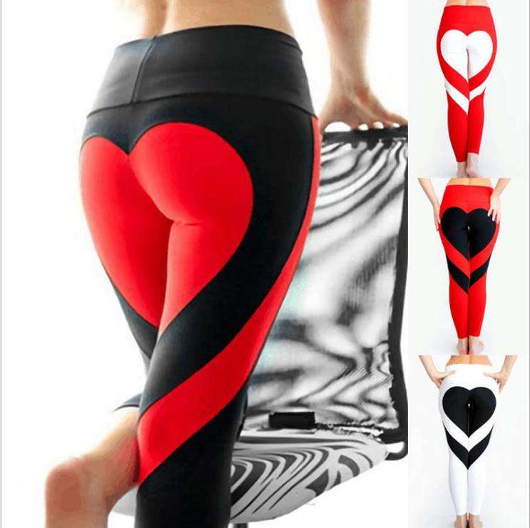 Fashion Women's Active Yoga Pants Heart Shape Butt Printing Capris Waistband Fitness Leggings Workout Tights