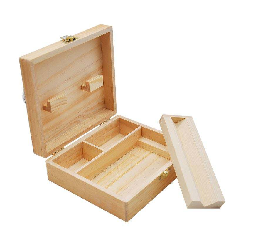 Wood stash boxes for weed with 2.5 inch grinder & UV glass & Rolling Traycan be OEM/ODM