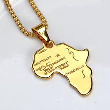 Stainless steel hollow map pendant hip and pop gold plated africa map necklace