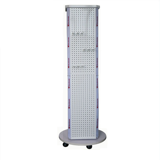 New promotion four sides metal custom rotary counter pegboard display rack size shop rotating floor standing retail For sale