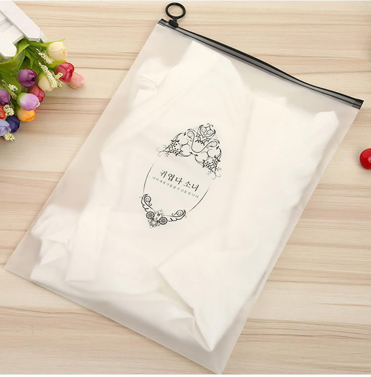 Custom Printed Frosted PE Biodegradable apparel Garment Clothes T-shirt Packaging Plastic Zipper Bag Large Ziplock Pouch