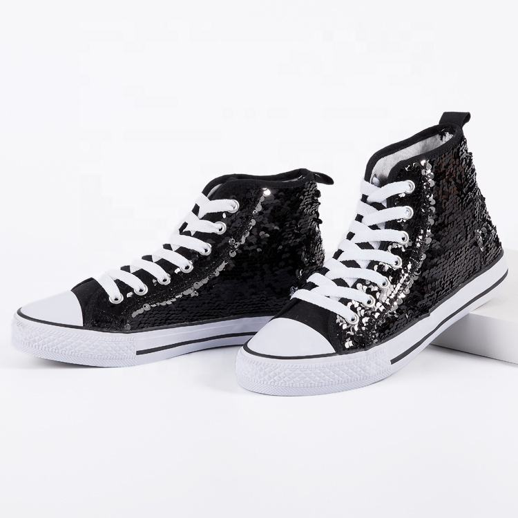 China OEM shoes high top sequins walking shoes casual women shoes