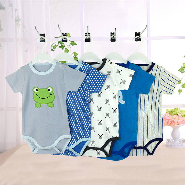 Summer style short sleeve infant clothing baby apparel 5pcs pack romper bodysuits for babies cotton