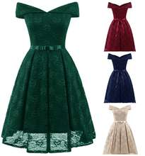 5 Colors Womens Vintage Lace Swing Skater Party Evening Dress Retro Midi Dress