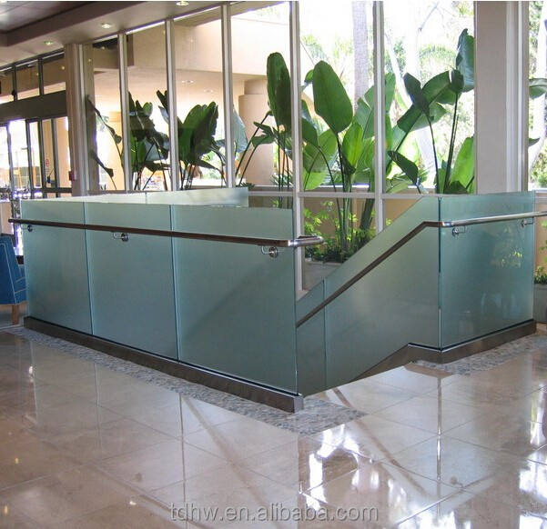Stainless steel shoe base glass rails u channel glass railing frameless glass balustrade