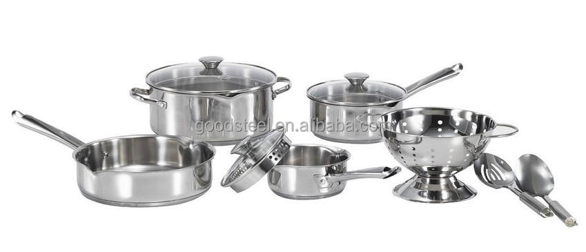 Convenient Cook and Strain Stainless Steel cookware 10pcs stainless steel cookware set 2pcs kitchen tools 1 colander MSF-L3293