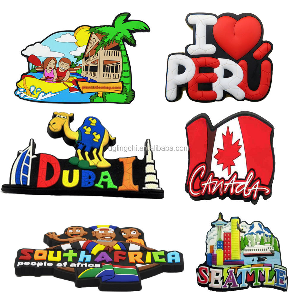 High quality factory custom make soft pvc 3d fridge magnets tourism souvenir