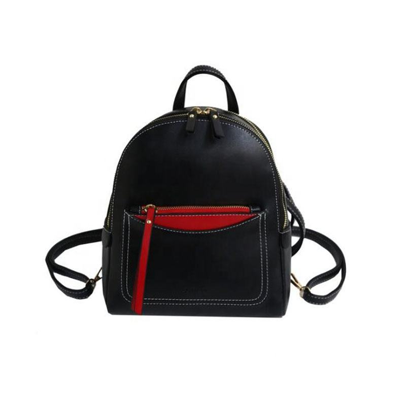 NEW PU pure color backpack south Korean style women's backpack simple tassel small backpack