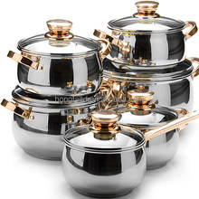 12pcs Stainless Steel thomas inox cookware set inox cooking pot