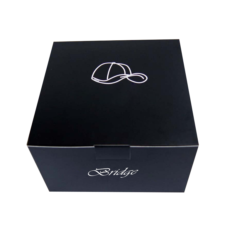 China Supplier Wholesale Flat Packed Baseball Hat Peaked Paper Box Snapback Hat Gift Box Black Sports Caps Packaging