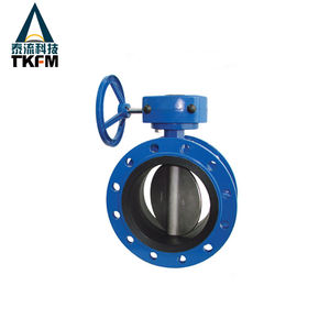 TKFM 8 inch cheap cast iron double flanged rubber lined powder butterfly valve supplier