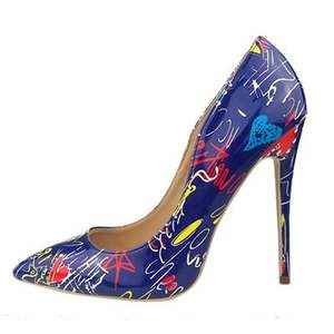 Print Fetish Style Zapatos Mujer Tacon Ladies Women Stiletto High Heels Girl Dress Pumps Shoes