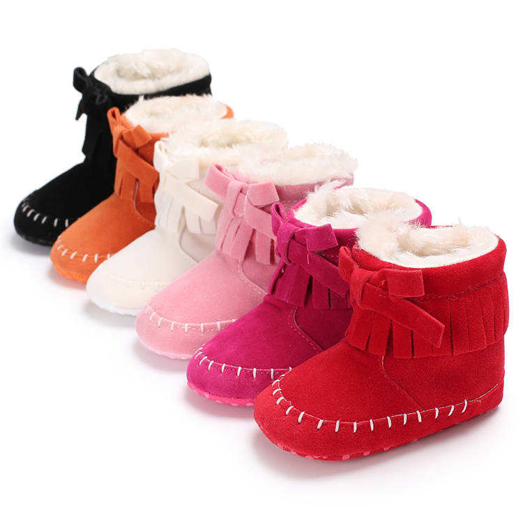 New arrived Faux suede Tassel bowknot 0-18 months Warm baby boots booties