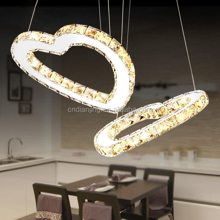 Double Hearts LED Crystal Chandelier Light Modern Pendant Lamp