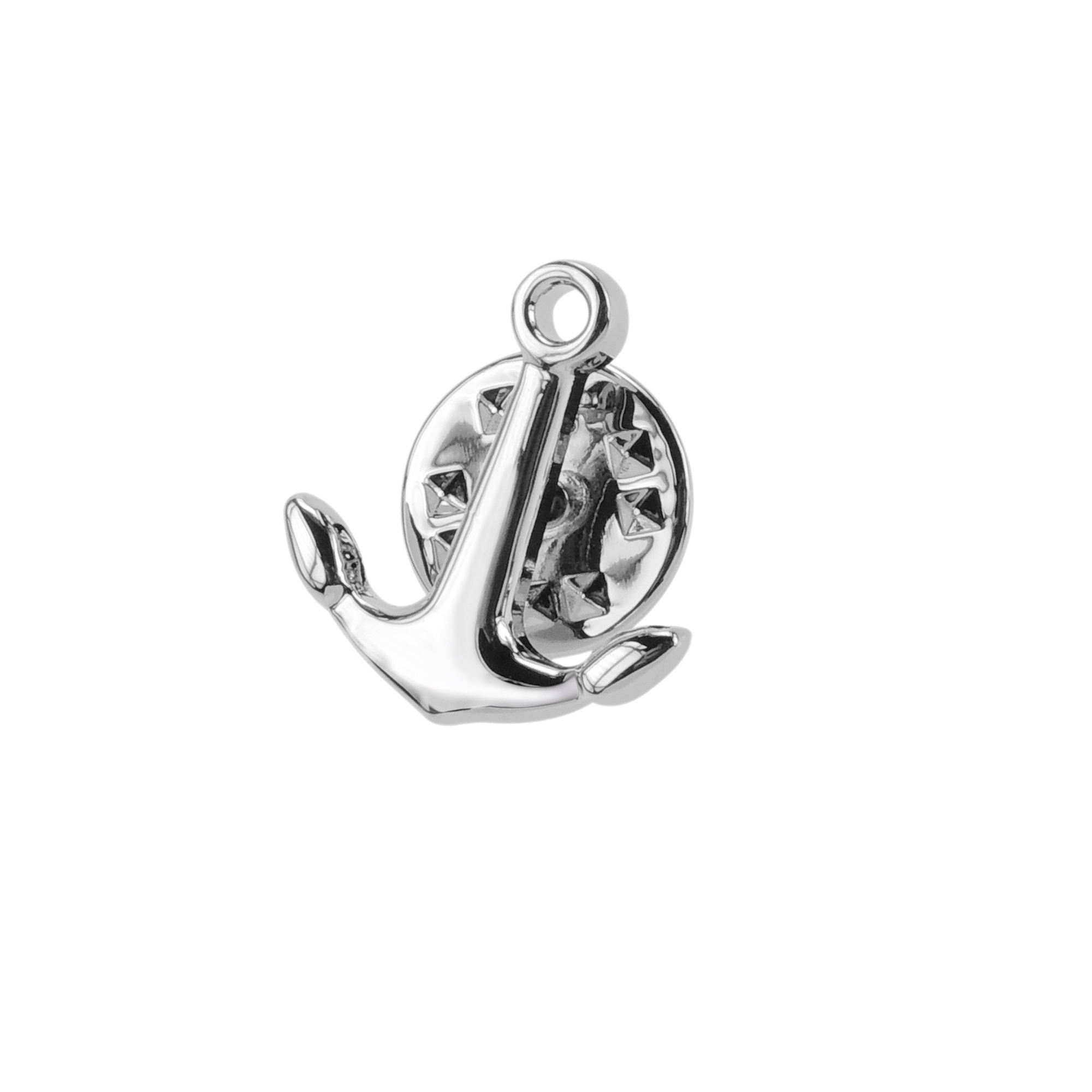 Prata náutico Sailing Anchor Mens Lapela Pin Broche de Metal Pin