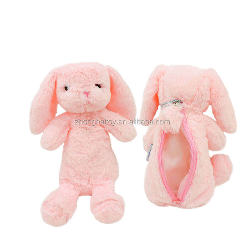 Factory Produce Bunny Rabbit Plush Animals Pencil Bags Purses Half Stuffed Rabbits Dolls Soft Toys for Children Kids Novel Gifts