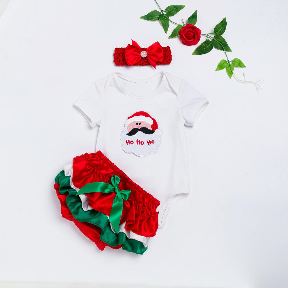 New Christmas Baby Girls Clothes Sets 3pcs Newborn Cotton Infant Girl Romper Dress Sets