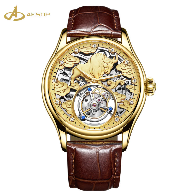 Factory new simple design tourbillon steel case high quality leather for men stylish waterproof watch vintage watch custom logo