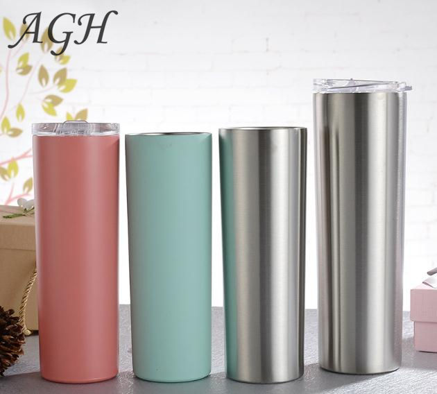 2019 Hot sale skinny tumblers 20oz stainless steel coffee cup with slide lid and straw tumbler cups