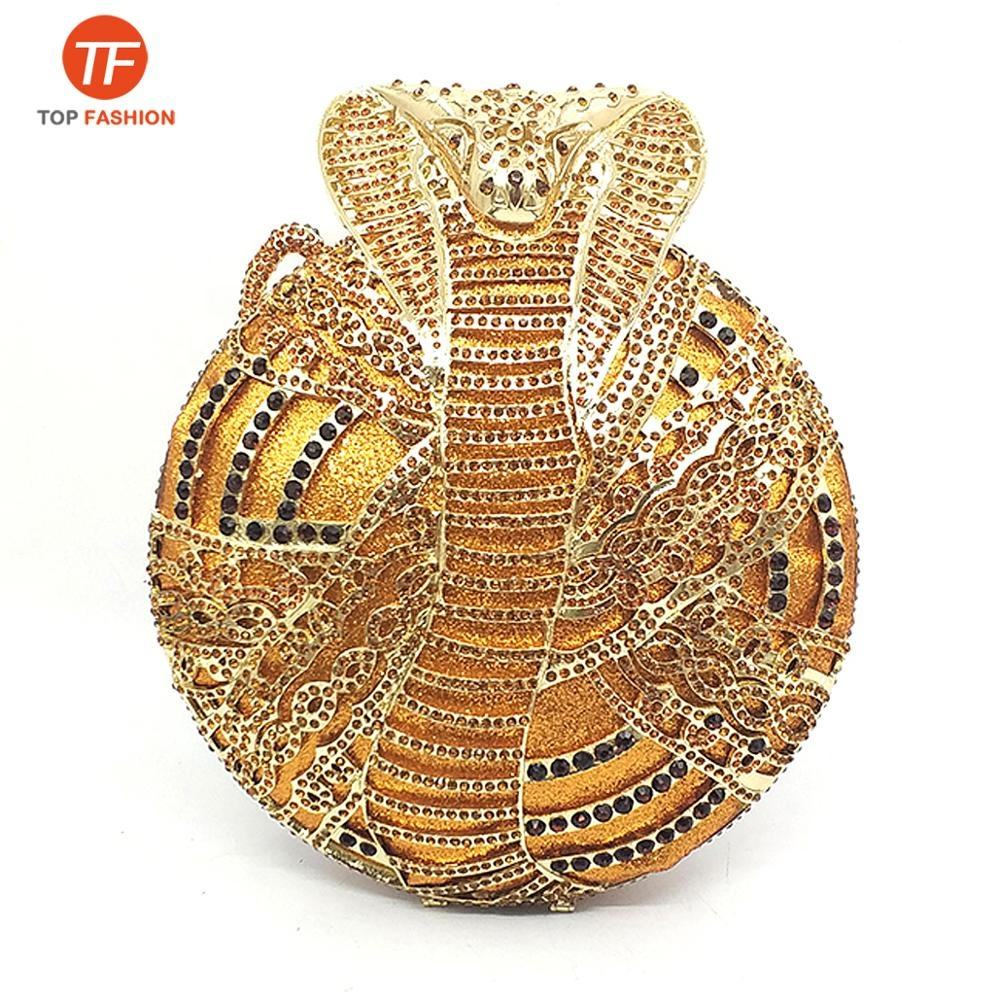 China Factory Wholesales Luxury Crystal Rhinestone Clutch Evening Bag Wedding Party Diamond Cobra Snake Minaudiere Purse