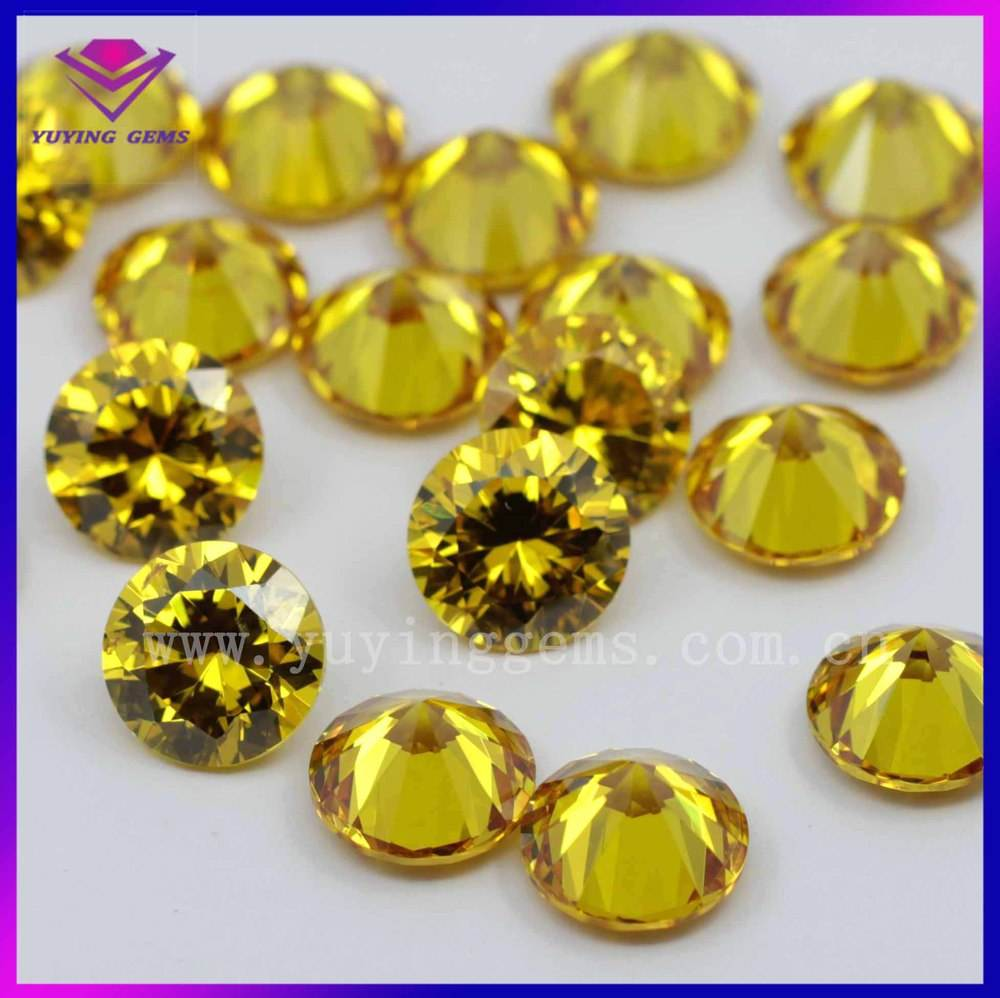 12mm round cutting yellow synthetic loose gemstone price list