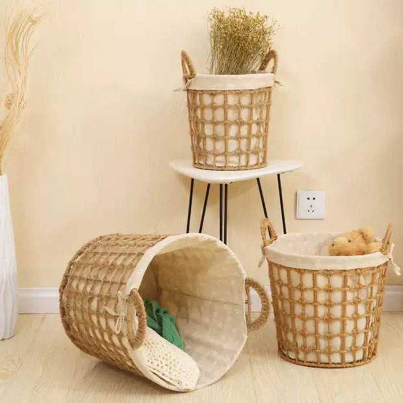 Wholesale hemp rope rattan woven storage baskets for home storage decoration NT-K601 02 03 04